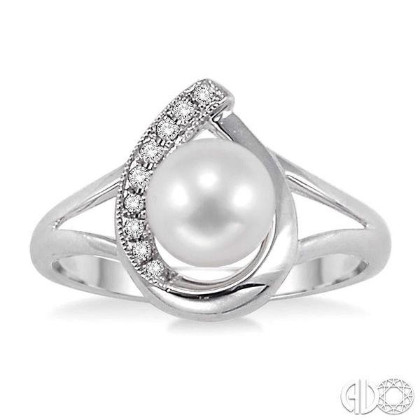 6.5 MM Cultured Pearl and 1/20 Ctw Single Cut Diamond Ring in Sterling Silver Image 2 Robert Irwin Jewelers Memphis, TN