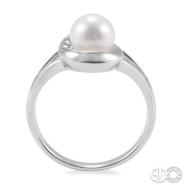 6.5 MM Cultured Pearl and 1/20 Ctw Single Cut Diamond Ring in Sterling Silver Image 3 Robert Irwin Jewelers Memphis, TN