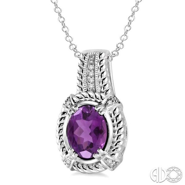 9x7 mm Oval Cut Amethyst and 1/50 Ctw Single Cut Diamond Pendant in Sterling Silver with Chain Image 2 Robert Irwin Jewelers Memphis, TN