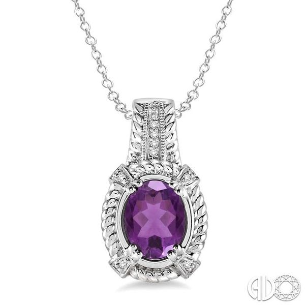 9x7 mm Oval Cut Amethyst and 1/50 Ctw Single Cut Diamond Pendant in Sterling Silver with Chain Robert Irwin Jewelers Memphis, TN