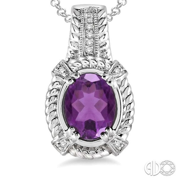 9x7 mm Oval Cut Amethyst and 1/50 Ctw Single Cut Diamond Pendant in Sterling Silver with Chain Image 3 Robert Irwin Jewelers Memphis, TN