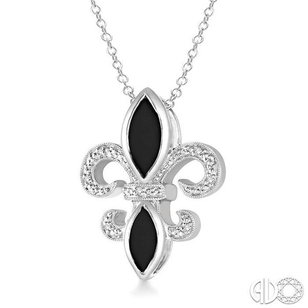 10x5 & 8x4 mm marquise cut Onyx and 1/50 Ctw Single Cut Diamond Pendant in Sterling Silver with Chain Image 2 Robert Irwin Jewelers Memphis, TN