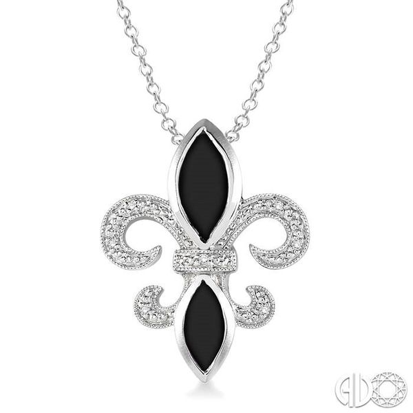 10x5 & 8x4 mm marquise cut Onyx and 1/50 Ctw Single Cut Diamond Pendant in Sterling Silver with Chain Robert Irwin Jewelers Memphis, TN