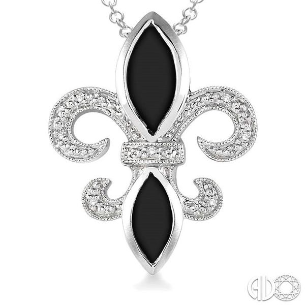 10x5 & 8x4 mm marquise cut Onyx and 1/50 Ctw Single Cut Diamond Pendant in Sterling Silver with Chain Image 3 Robert Irwin Jewelers Memphis, TN