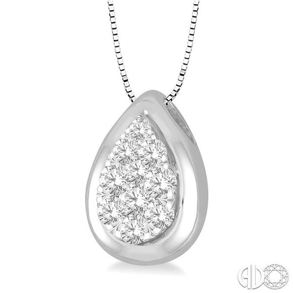 1/3 Ctw Pear Shape Round Cut Diamond Lovebright Pendant With Box Chain in 14K White Gold Image 2 Robert Irwin Jewelers Memphis, TN