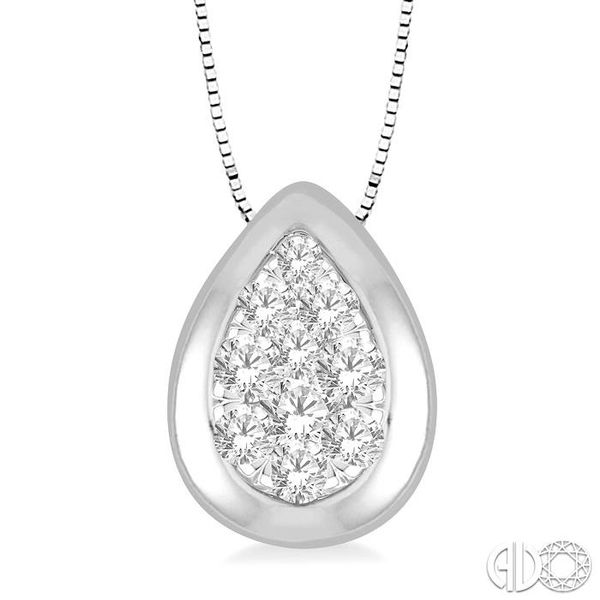 1/3 Ctw Pear Shape Round Cut Diamond Lovebright Pendant With Box Chain in 14K White Gold Robert Irwin Jewelers Memphis, TN