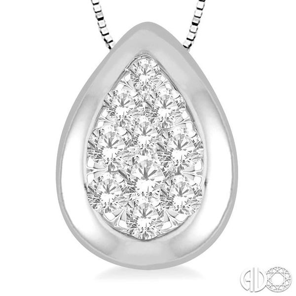 1/3 Ctw Pear Shape Round Cut Diamond Lovebright Pendant With Box Chain in 14K White Gold Image 3 Robert Irwin Jewelers Memphis, TN