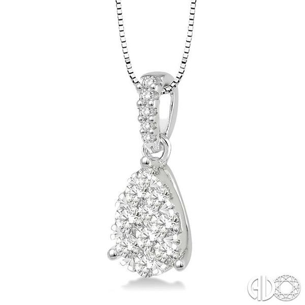 3/4 Ctw Pear Shape Diamond Lovebright Pendant in 14K White Gold with Chain Image 2 Robert Irwin Jewelers Memphis, TN