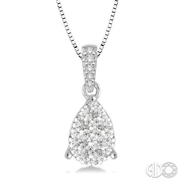 3/4 Ctw Pear Shape Diamond Lovebright Pendant in 14K White Gold with Chain Robert Irwin Jewelers Memphis, TN