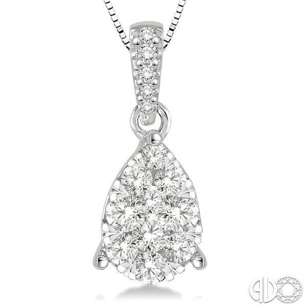 3/4 Ctw Pear Shape Diamond Lovebright Pendant in 14K White Gold with Chain Image 3 Robert Irwin Jewelers Memphis, TN