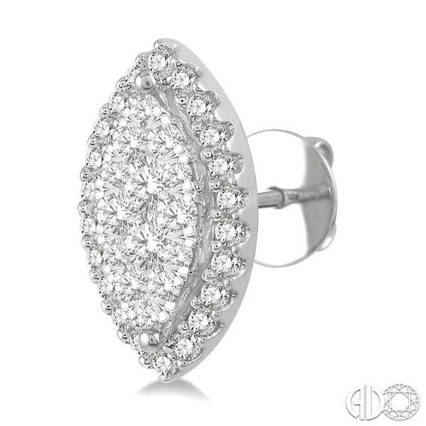 1/2 Ctw Marquise Shape Lovebright Round Cut Diamond Stud Earrings in 14K White Gold Image 3 Robert Irwin Jewelers Memphis, TN