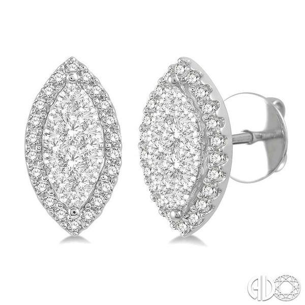 1/2 Ctw Marquise Shape Lovebright Round Cut Diamond Stud Earrings in 14K White Gold Robert Irwin Jewelers Memphis, TN