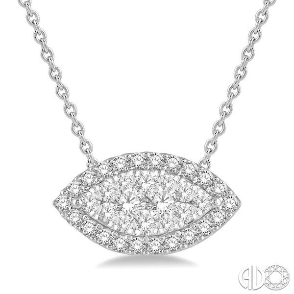 1/2 Ctw Marquise Shape Lovebright Round Cut Diamond Pendant in 14K White Gold Robert Irwin Jewelers Memphis, TN