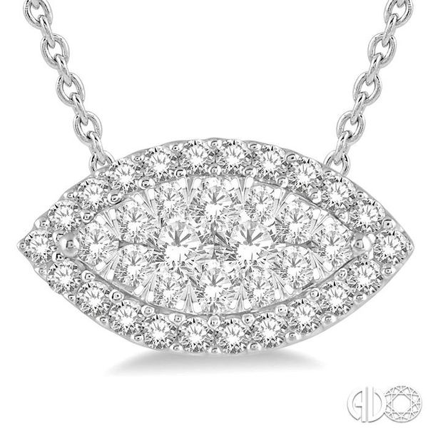 1/2 Ctw Marquise Shape Lovebright Round Cut Diamond Pendant in 14K White Gold Image 3 Robert Irwin Jewelers Memphis, TN