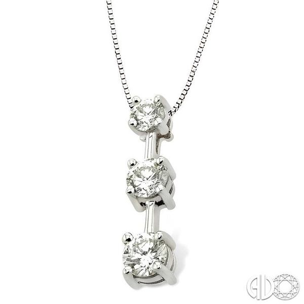 1 Ctw Three Stone Round Cut Diamond Pendant in 14K White Gold with Chain Image 2 Robert Irwin Jewelers Memphis, TN