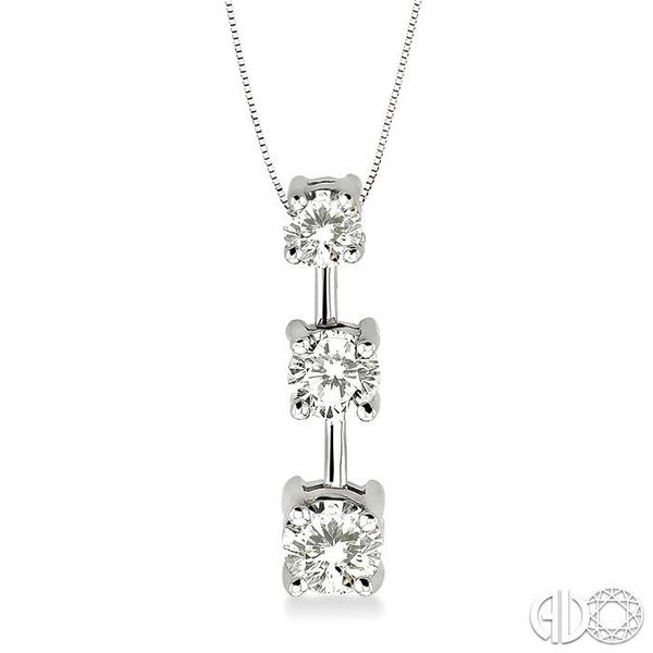 1 Ctw Three Stone Round Cut Diamond Pendant in 14K White Gold with Chain Robert Irwin Jewelers Memphis, TN