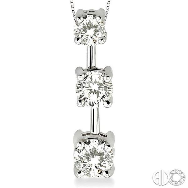 1 Ctw Three Stone Round Cut Diamond Pendant in 14K White Gold with Chain Image 3 Robert Irwin Jewelers Memphis, TN