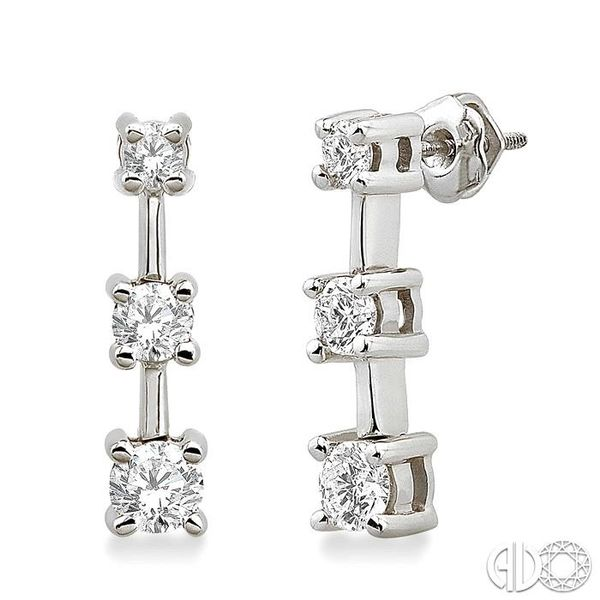 3/4 Ctw Round Cut Diamond Earrings in 14K White Gold Robert Irwin Jewelers Memphis, TN