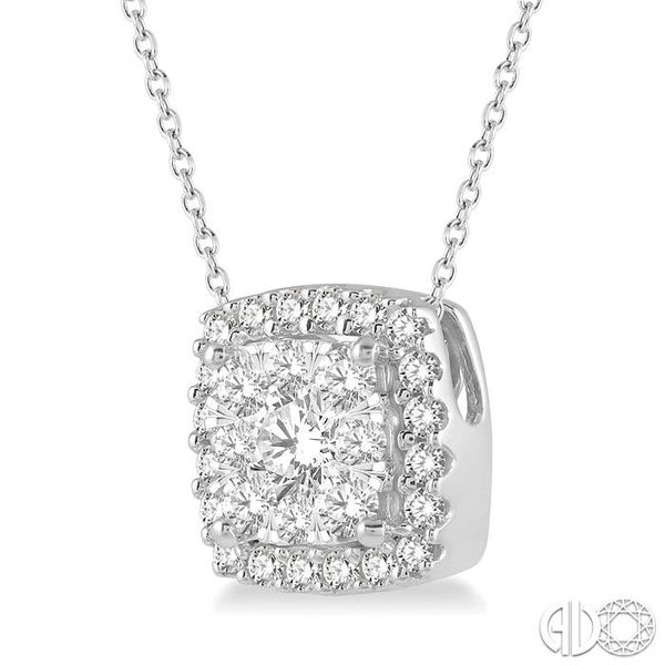1/2 Ctw Cushion Shape Lovebright Round Cut Diamond Pendant in 14K White Gold Image 2 Robert Irwin Jewelers Memphis, TN