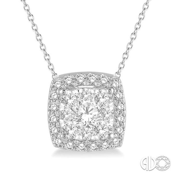 1/2 Ctw Cushion Shape Lovebright Round Cut Diamond Pendant in 14K White Gold Robert Irwin Jewelers Memphis, TN