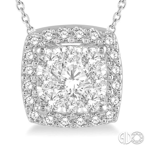 1/2 Ctw Cushion Shape Lovebright Round Cut Diamond Pendant in 14K White Gold Image 3 Robert Irwin Jewelers Memphis, TN