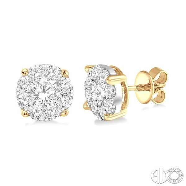 1 1/2 Ctw Lovebright Round Cut Diamond Earrings in 14K Yellow Gold Robert Irwin Jewelers Memphis, TN