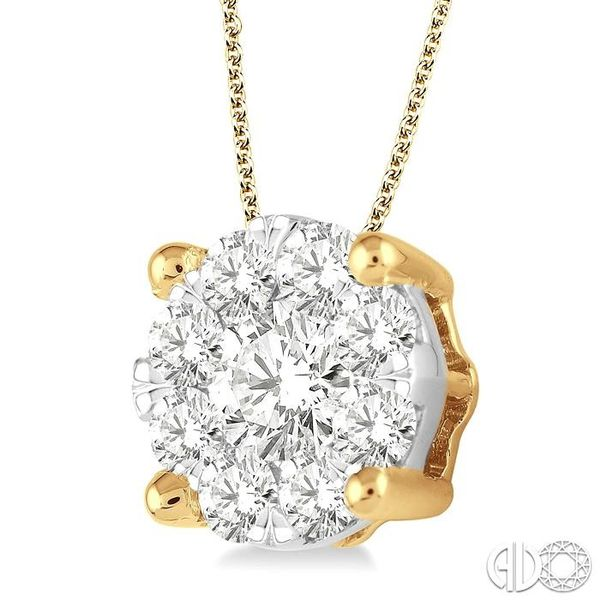 1 1/2 Ctw Lovebright Round Cut Diamond Pendant in 14K Yellow Gold with Chain Image 2 Robert Irwin Jewelers Memphis, TN