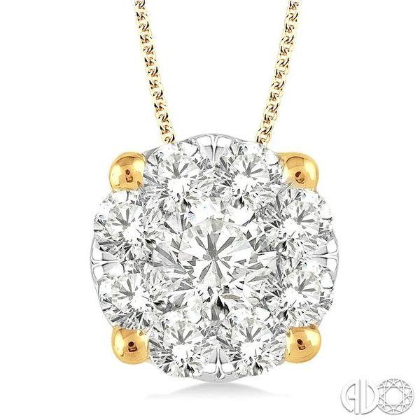 1 1/2 Ctw Lovebright Round Cut Diamond Pendant in 14K Yellow Gold with Chain Robert Irwin Jewelers Memphis, TN