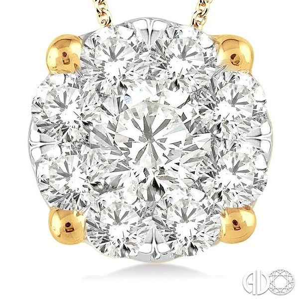 1 1/2 Ctw Lovebright Round Cut Diamond Pendant in 14K Yellow Gold with Chain Image 3 Robert Irwin Jewelers Memphis, TN