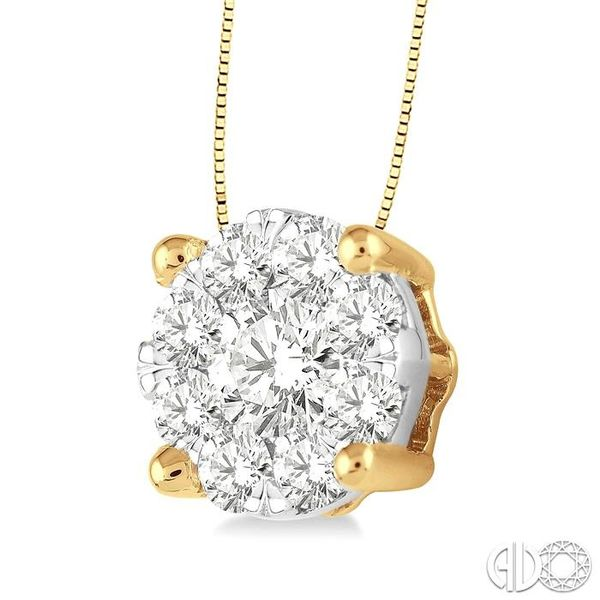 1 Ctw Lovebright Round Cut Diamond Pendant in 14K Yellow and White Gold with Chain Image 2 Robert Irwin Jewelers Memphis, TN
