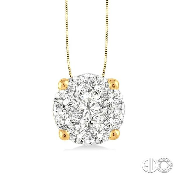 1 Ctw Lovebright Round Cut Diamond Pendant in 14K Yellow and White Gold with Chain Robert Irwin Jewelers Memphis, TN