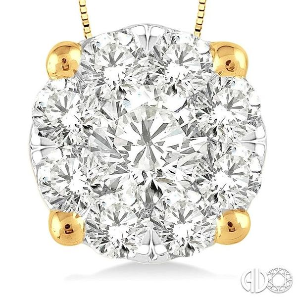 1 Ctw Lovebright Round Cut Diamond Pendant in 14K Yellow and White Gold with Chain Image 3 Robert Irwin Jewelers Memphis, TN