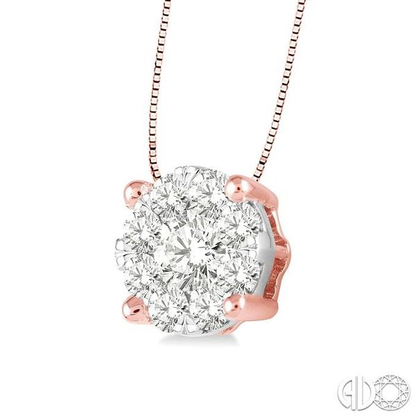 1/4 Ctw Lovebright Round Cut Diamond Pendant in 14K Rose and White Gold with Chain Image 2 Robert Irwin Jewelers Memphis, TN