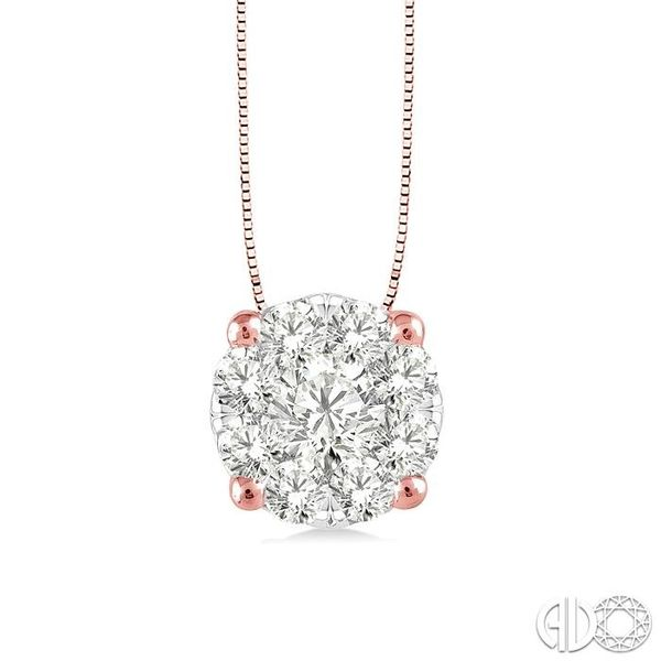1/4 Ctw Lovebright Round Cut Diamond Pendant in 14K Rose and White Gold with Chain Robert Irwin Jewelers Memphis, TN