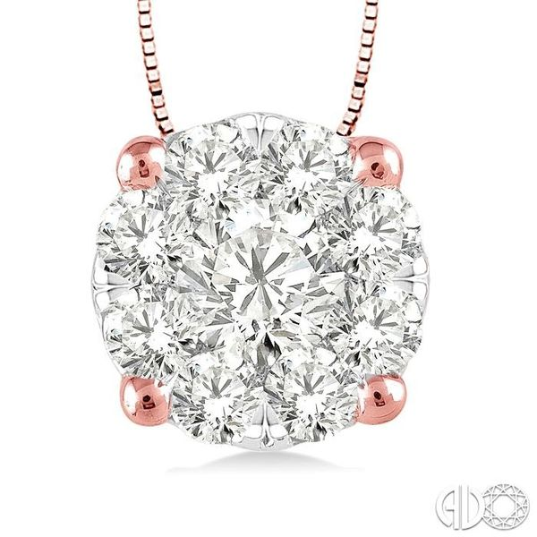 1/4 Ctw Lovebright Round Cut Diamond Pendant in 14K Rose and White Gold with Chain Image 3 Robert Irwin Jewelers Memphis, TN