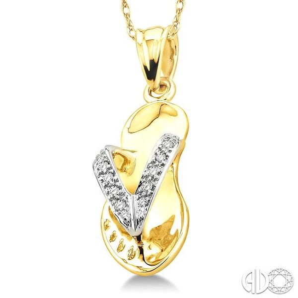 1/20 Ctw Single Cut Diamond Flip Flop Pendant in 14K Yellow Gold with Chain Image 2 Robert Irwin Jewelers Memphis, TN