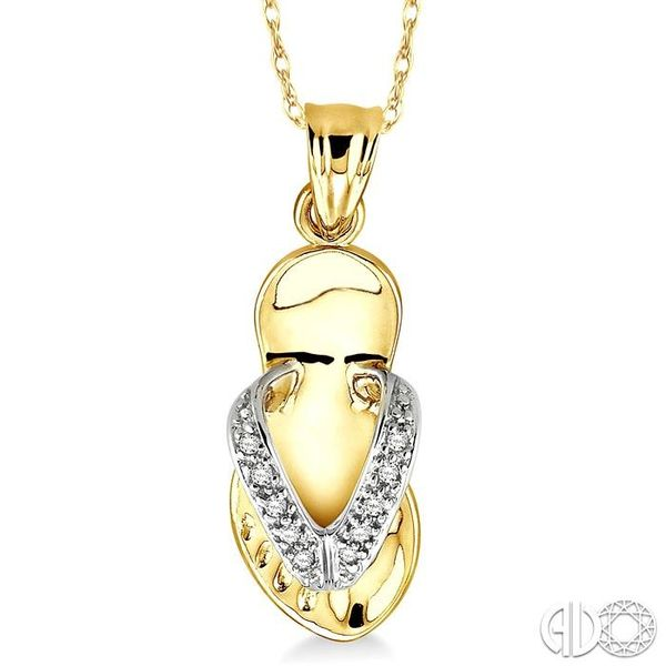 1/20 Ctw Single Cut Diamond Flip Flop Pendant in 14K Yellow Gold with Chain Robert Irwin Jewelers Memphis, TN