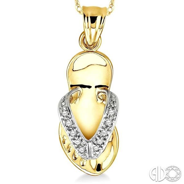 1/20 Ctw Single Cut Diamond Flip Flop Pendant in 14K Yellow Gold with Chain Image 3 Robert Irwin Jewelers Memphis, TN