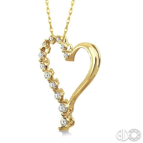 1/4 Ctw Round Cut Diamond Half Journey Heart Pendant in 14K Yellow Gold with Chain Image 2 Robert Irwin Jewelers Memphis, TN
