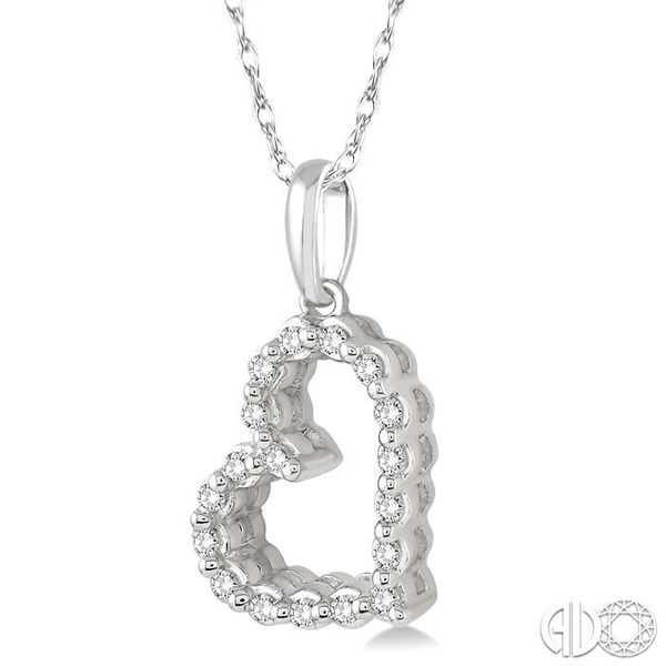 1/10 Ctw Round Cut Diamond Heart Pendant in 10K White Gold with Chain Image 2 Robert Irwin Jewelers Memphis, TN