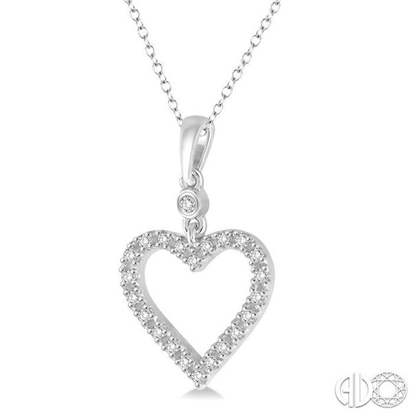 1/6 Ctw Round Cut Diamond Heart Pendant in 10K White Gold with Chain Image 2 Robert Irwin Jewelers Memphis, TN