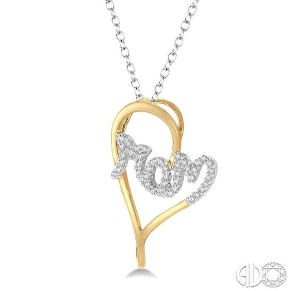 1/6 Ctw Curvy Heart Mom Carved Round Cut Diamond Pendant With Link Chain in 10K Yellow and White Gold Image 2 Robert Irwin Jewelers Memphis, TN