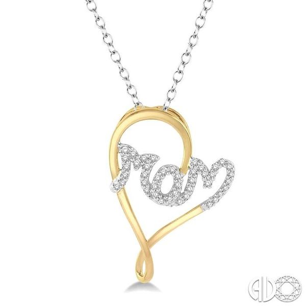 1/6 Ctw Curvy Heart Mom Carved Round Cut Diamond Pendant With Link Chain in 10K Yellow and White Gold Robert Irwin Jewelers Memphis, TN