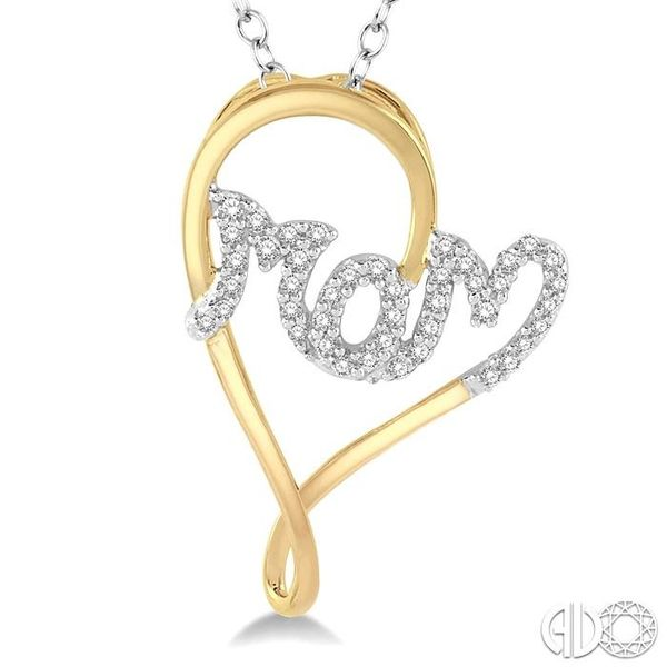 1/6 Ctw Curvy Heart Mom Carved Round Cut Diamond Pendant With Link Chain in 10K Yellow and White Gold Image 3 Robert Irwin Jewelers Memphis, TN