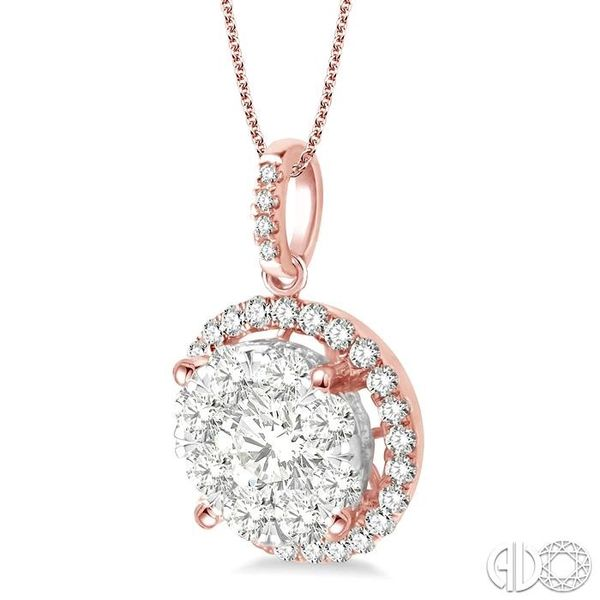 2 Ctw Lovebright Round Cut Diamond Pendant in 14K Rose and White Gold with Chain Image 2 Robert Irwin Jewelers Memphis, TN