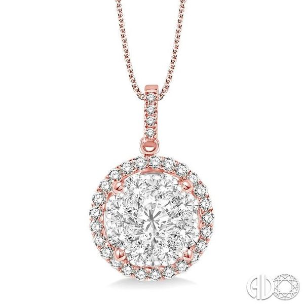 2 Ctw Lovebright Round Cut Diamond Pendant in 14K Rose and White Gold with Chain Robert Irwin Jewelers Memphis, TN