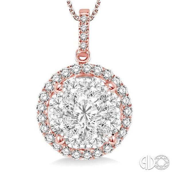 2 Ctw Lovebright Round Cut Diamond Pendant in 14K Rose and White Gold with Chain Image 3 Robert Irwin Jewelers Memphis, TN