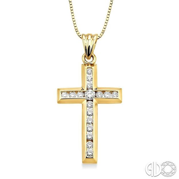 1/2 Ctw Round Cut Diamond Cross Pendant in 14K Yellow Gold with Chain Robert Irwin Jewelers Memphis, TN