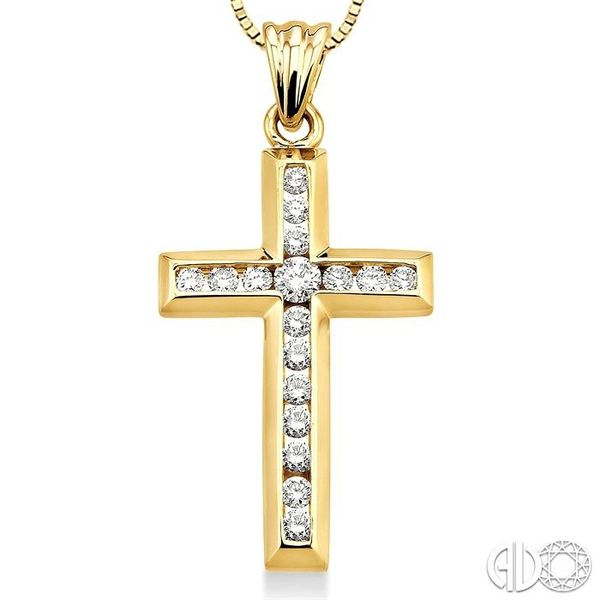 1/2 Ctw Round Cut Diamond Cross Pendant in 14K Yellow Gold with Chain Image 3 Robert Irwin Jewelers Memphis, TN