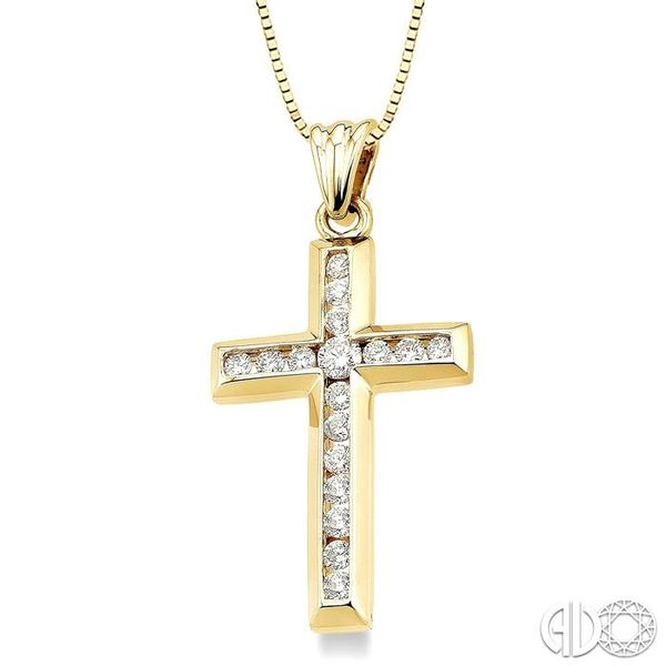 1/2 Ctw Round Cut Diamond Cross Pendant in 10K Yellow Gold with Chain Image 2 Robert Irwin Jewelers Memphis, TN
